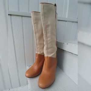 Vintage LL Bean NBW tall leather canvas boots 6.5